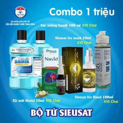 Ảnh của [SIEUSAT2-1000K] Combo Nano Bạc siêu sát khuẩn: Xịt mũi Navid + Súc miệng Samik + Xịt khẩu trang for Mask + Gel rửa tay for Hand